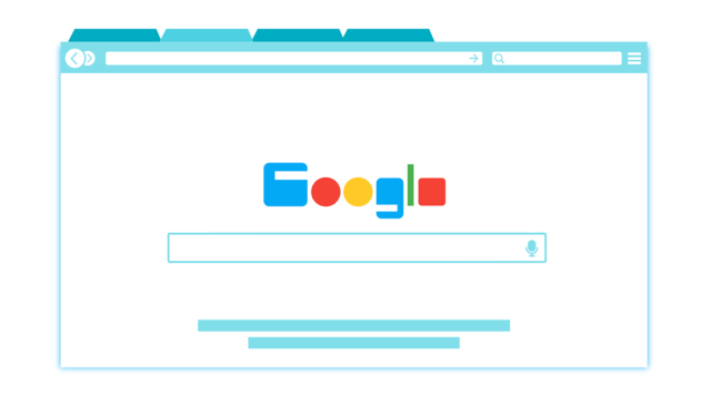 An illustration of a web browser on Google's search engine page.